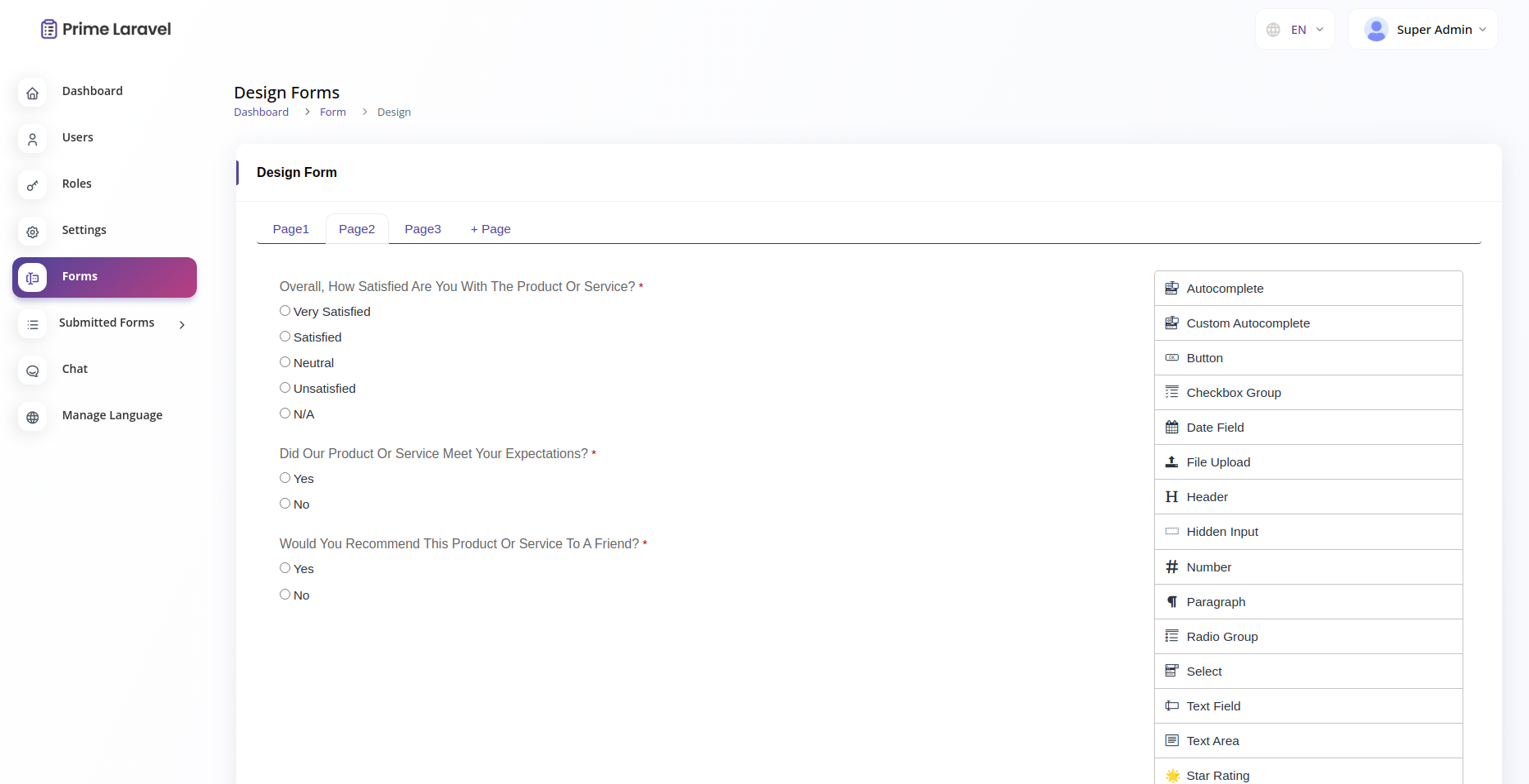 Prime Laravel Form Builder - Form builder, Users, Role, Permissions & Settings - 5