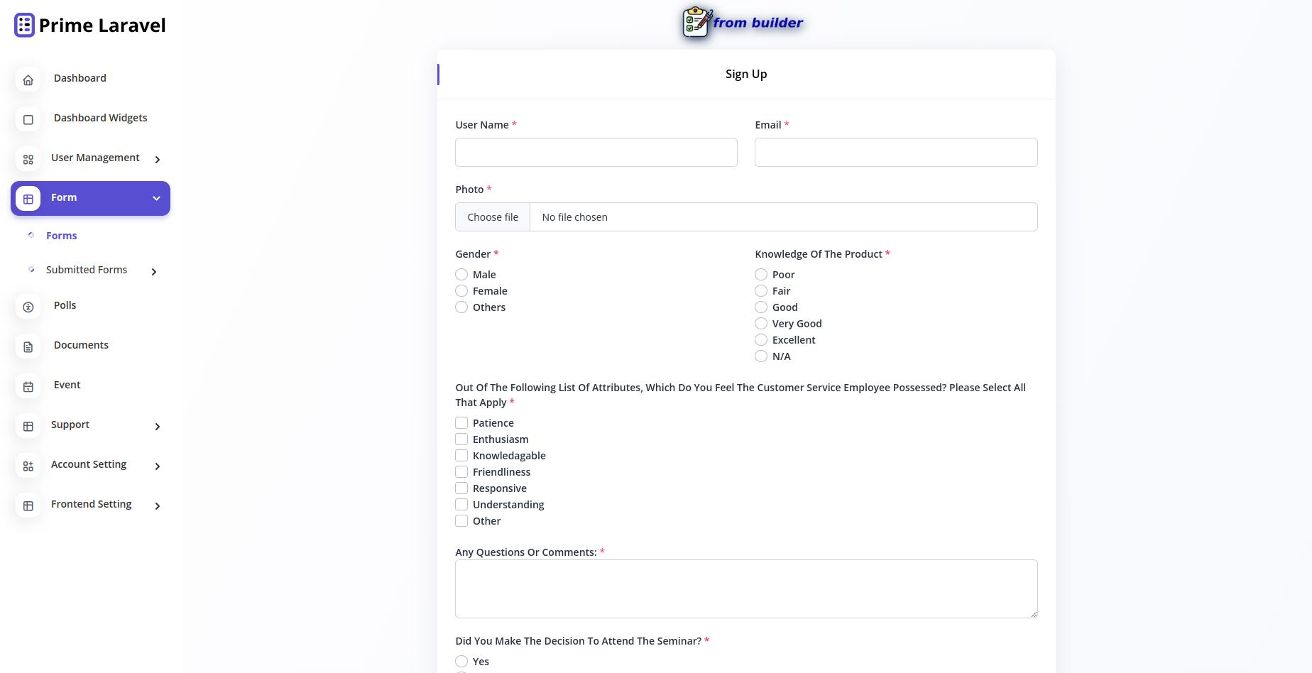 Prime Laravel Form Builder - Form builder, Users, Role, Permissions & Settings - 7
